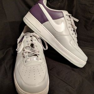 Nike Air Force Ones Purple Silver and White.